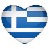 Photo Greece Flag Heart Glossy Button