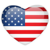 Photo United States Flag Heart Glossy Button