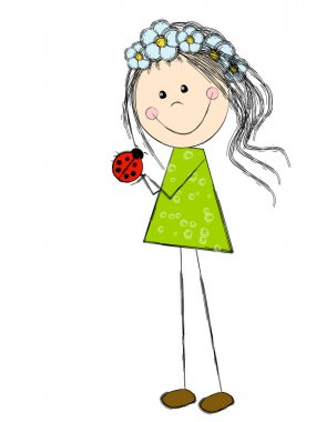 Cute spring girl with ladybird clip art vector
