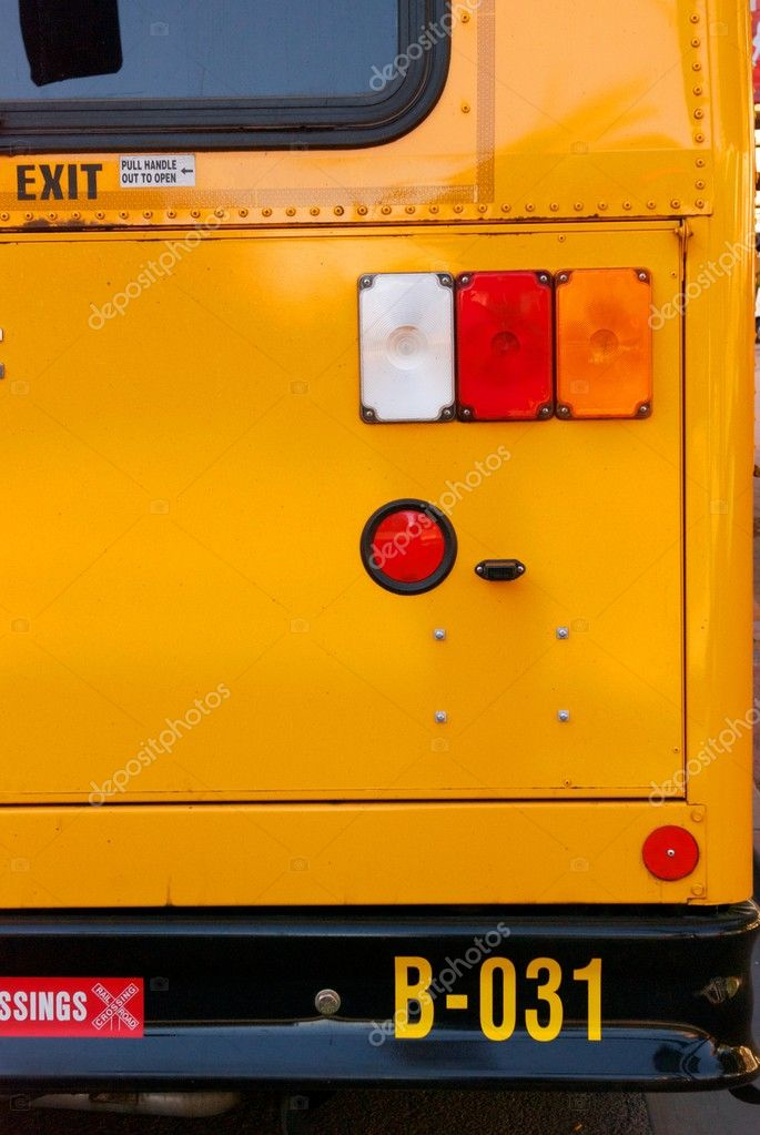 Yellow School Bus Bumper and Tail LIghts — Stock Photo