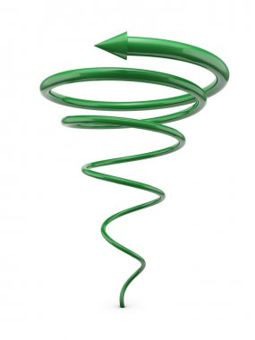 Green spiral line with arrow