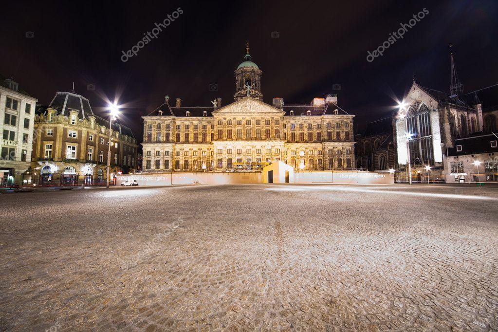 Фотообои Royal Palace in Amsterdam - night photo
