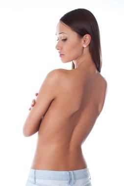 Beautiful woman body - high key shot in studio