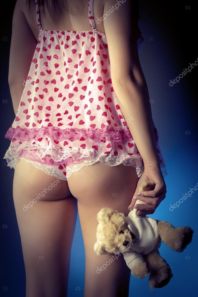 Woman backside in lingerie holding a teddy bear illustration