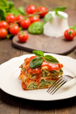 Homemade Lasegne with Ricotta Cheese and Spinach