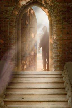 Man stands in the doorway stock vector