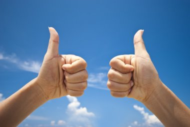 Two hands thumbs up stock vector