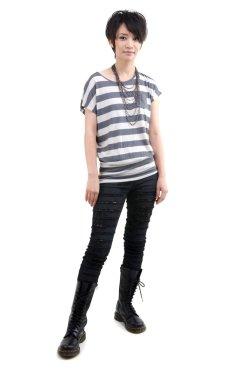 Punk girl full body on white background