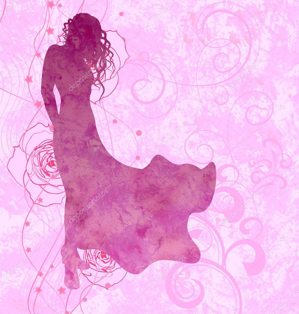 chica de silueta en fondo de rosas rosadas, vestido de noche — Fotos ...