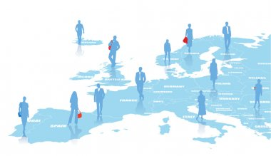 Business illustration with map