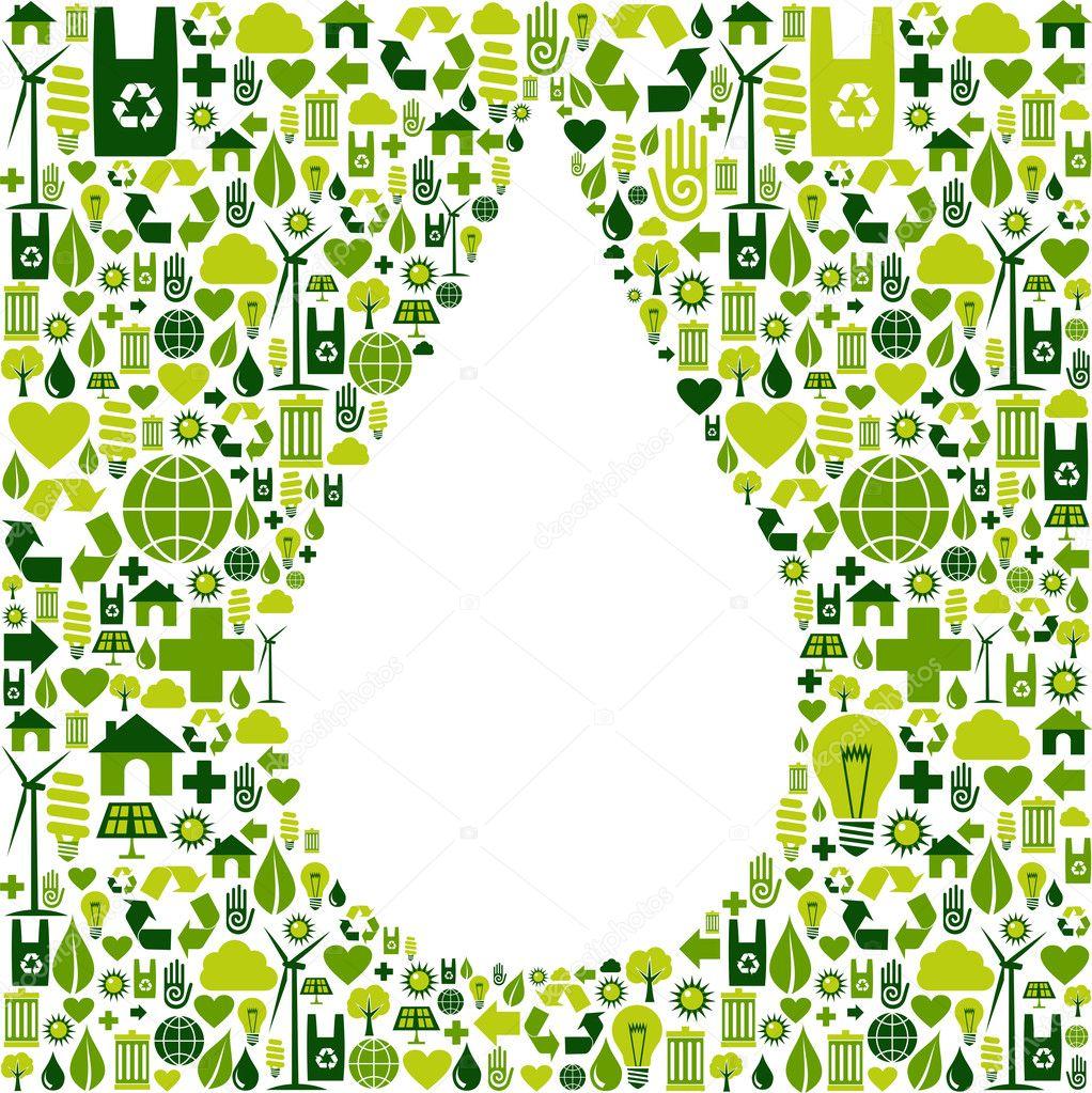 Drop symbol with eco friendly icon