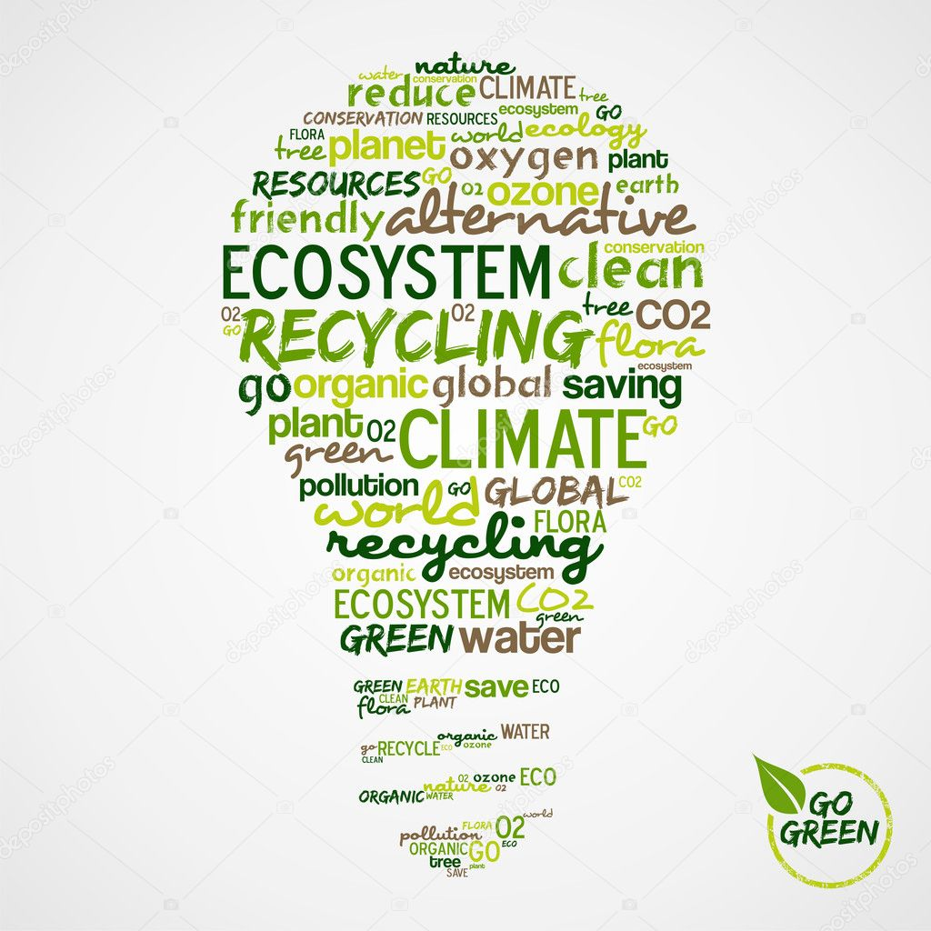 Go Green. Words cloud about environmental conservation in bulb