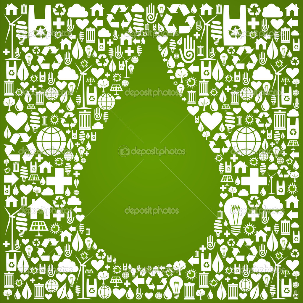 Water drop with eco icons background