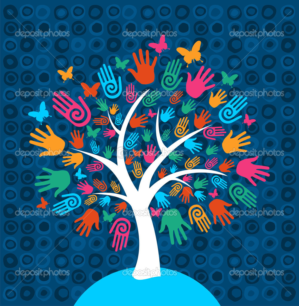 Diversity tree hands background