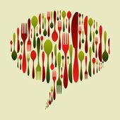 Karácsonyi színek evőeszközök ikonkészlet buborék alakú