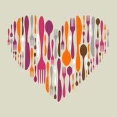Evőeszköz ikonkészlet szív alakú