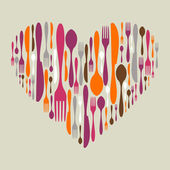 sada příborů ikon ve tvaru srdce