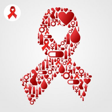 AIDS icons in communication bubble silhouette