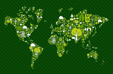 Globe World map with green icons