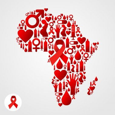 Africa map symbol with AIDS icons
