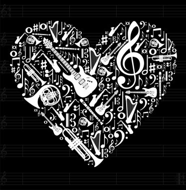 Love for music concept illustration. High contrast musical instruments icon set in heart shape background. Vector file available. clip art vector