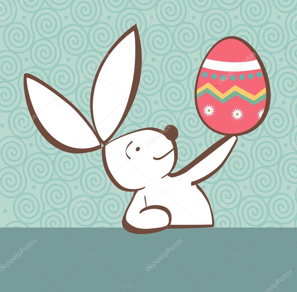 conejo de Pascua con huevo pintado — Vector de stock © cienpies #9677842