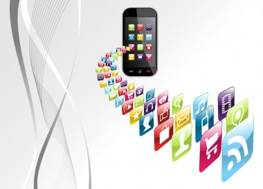 Global phone apps icons tech background