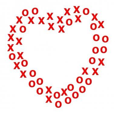 Heart border created using x and o