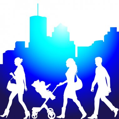 Several , city live, morning - vector silhouettes