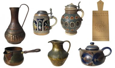 Set of 7 ancient kitchen objects isolated on white background wi