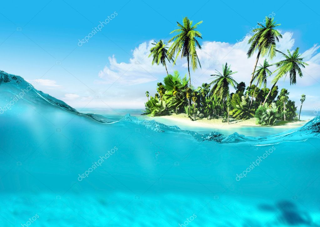 Landscape of tropical island and ocean.