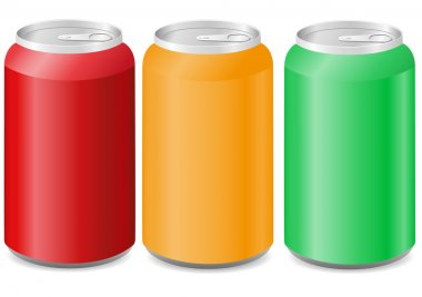 Coloured aluminum cans with soda