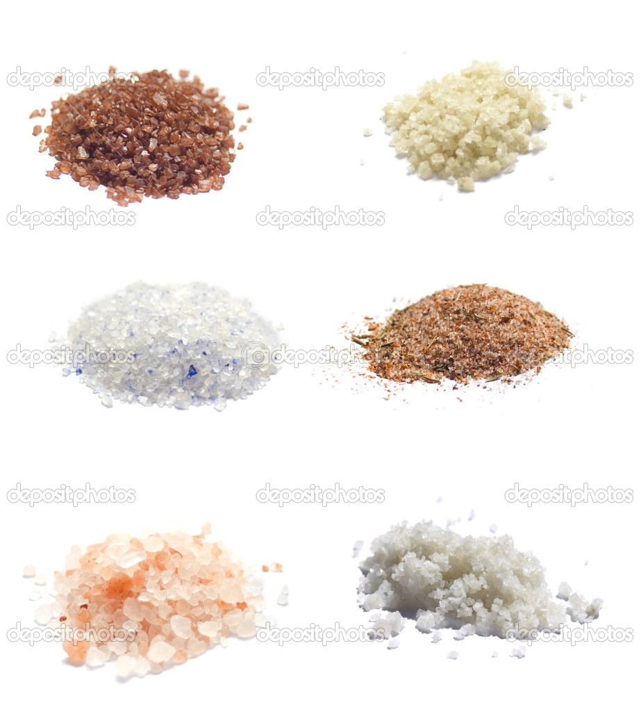 Collection of exotic sea salts isolated on white