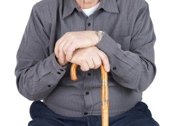 Torso of senior with cane