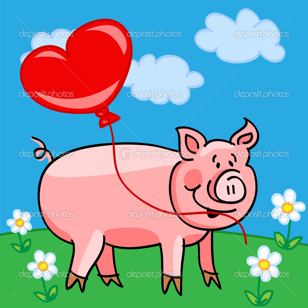 Pig Cartoon With Heart Balloon Stock Vector