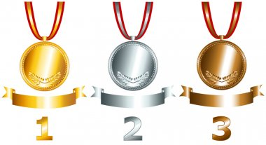 Gold, silver and bronze games related set