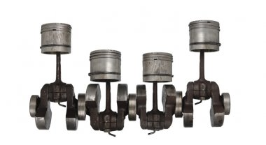 Four old piston and connecting rod