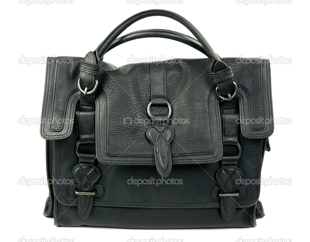 ddca0f55d8 Δερμάτινη τσάντα μαύρες γυναίκες που απομονώνονται σε λευκό φόντο — Εικόνα  από ...