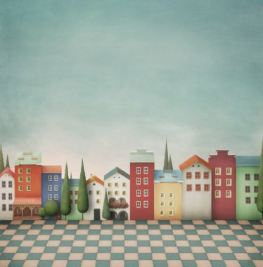 Colorful toy town. Background or an illustration for a children's story or postcards. Computer graphics. stock vector