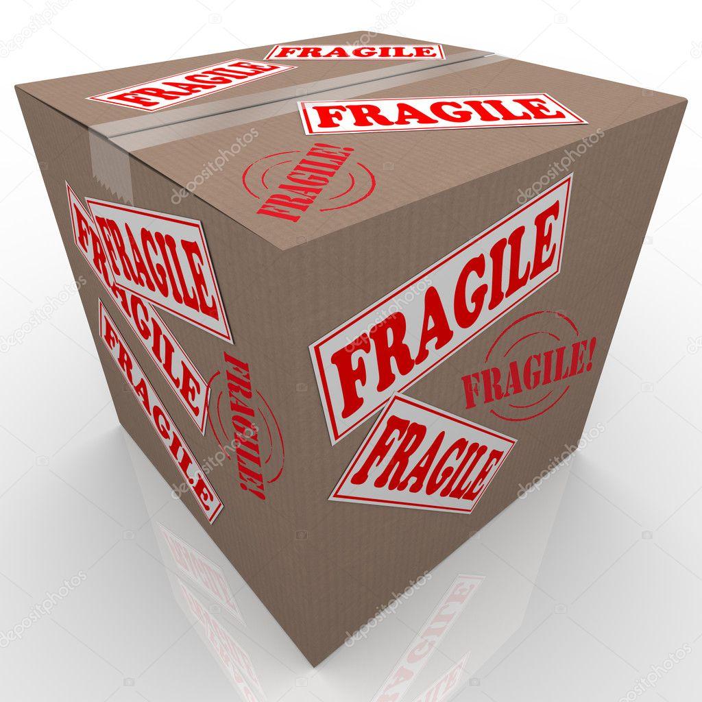 Kwetsbare Kartonnen Doos Verzending Pakket Handvat Met