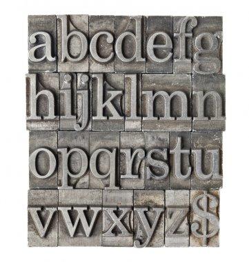 Alphabet in grunge meta type