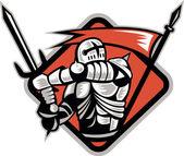 Knight Crusader With Sword Flag Retro