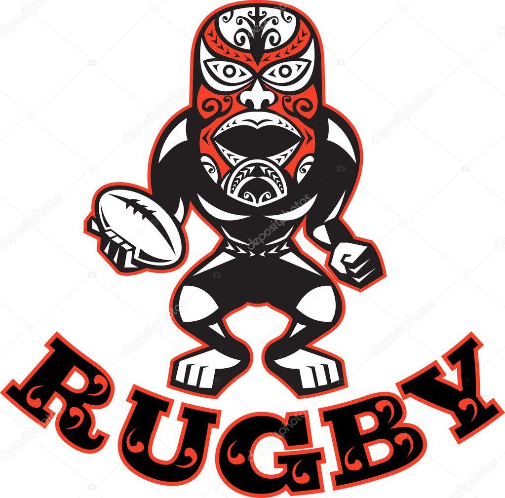 Cool Maori Krieger Ideas Of Abbildung Eines Rugby-spieler Mit Maske Stehen Mit