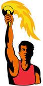 sportovec s hořící pochodní