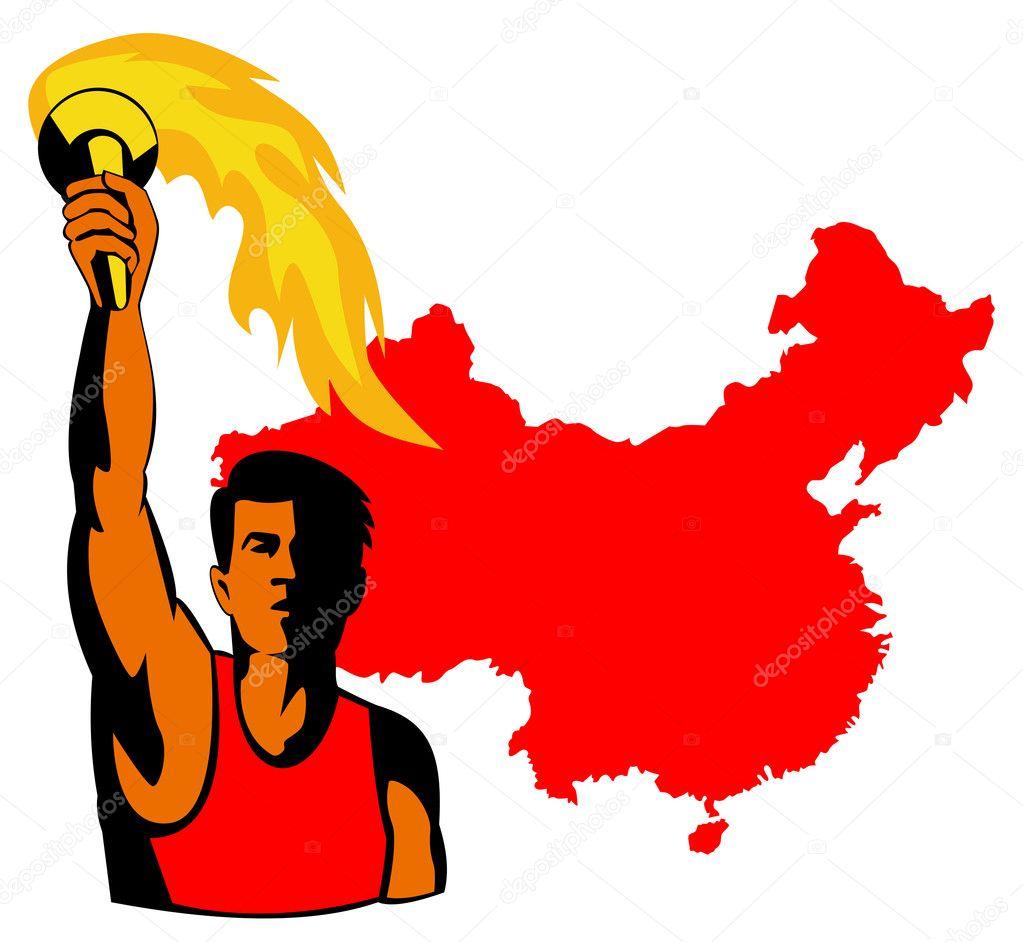 Спортсмен с факелом картинки