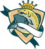 Fotografie König Lachs Fisch springen Schild
