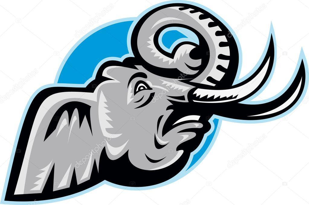 cabeza de elefante africano enojado retro — Vector de stock ...