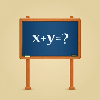 Blackboard with math equation and question