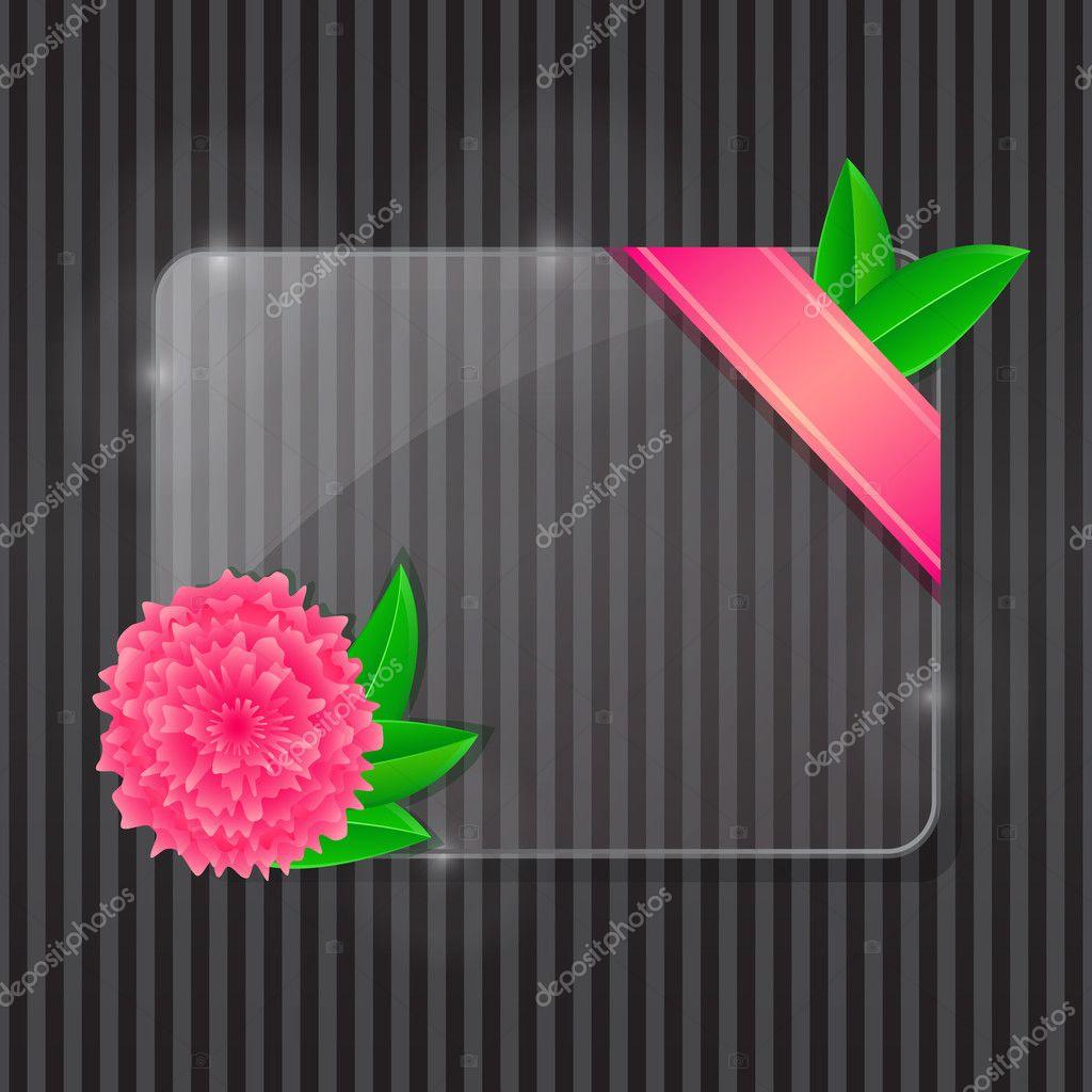 Glasrahmen mit rosa Blumen und grünen Blättern — Stockvektor ...