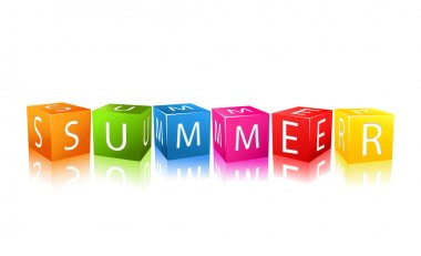 Colorful Cubes Composed In Word Summer